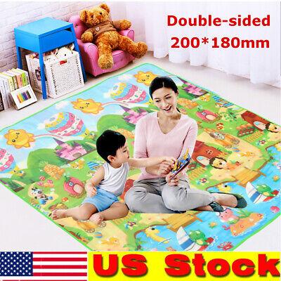 Baby Kid Toddler Crawl Play Game Picnic Carpet Animal Alphabet Farm Mat 1.8Mx2M
