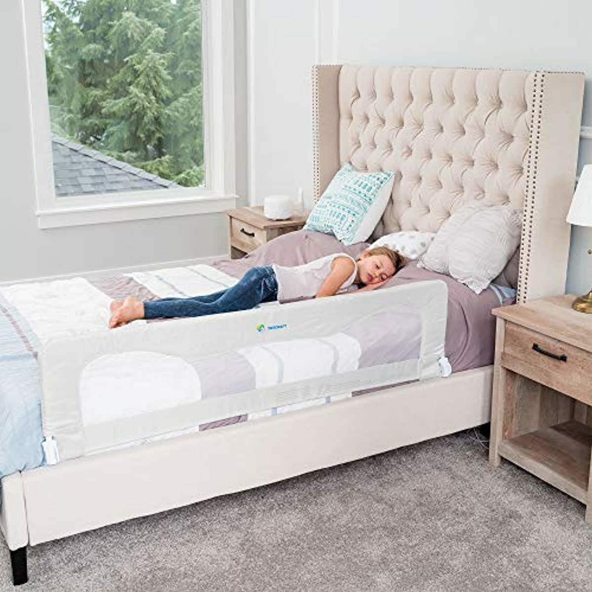 White Kids Safety Crib Bed Rail For Toddlers Extra Long For Any Size Bed - $107.26