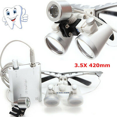 Dental Surgical Binocular Loupes Glasses Magnifying Zoomled Head Light Lamp A
