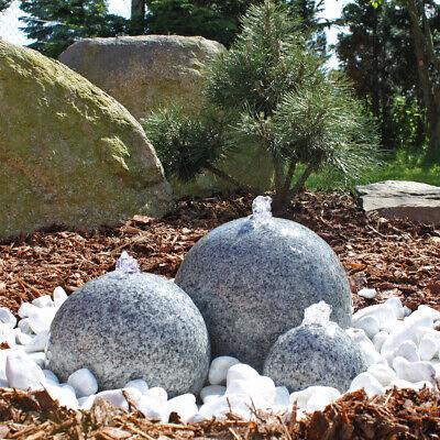 Granit Springbrunnen 3 Kugel Brunnen aus Naturstein Granitbrunnen Gartenbrunnen