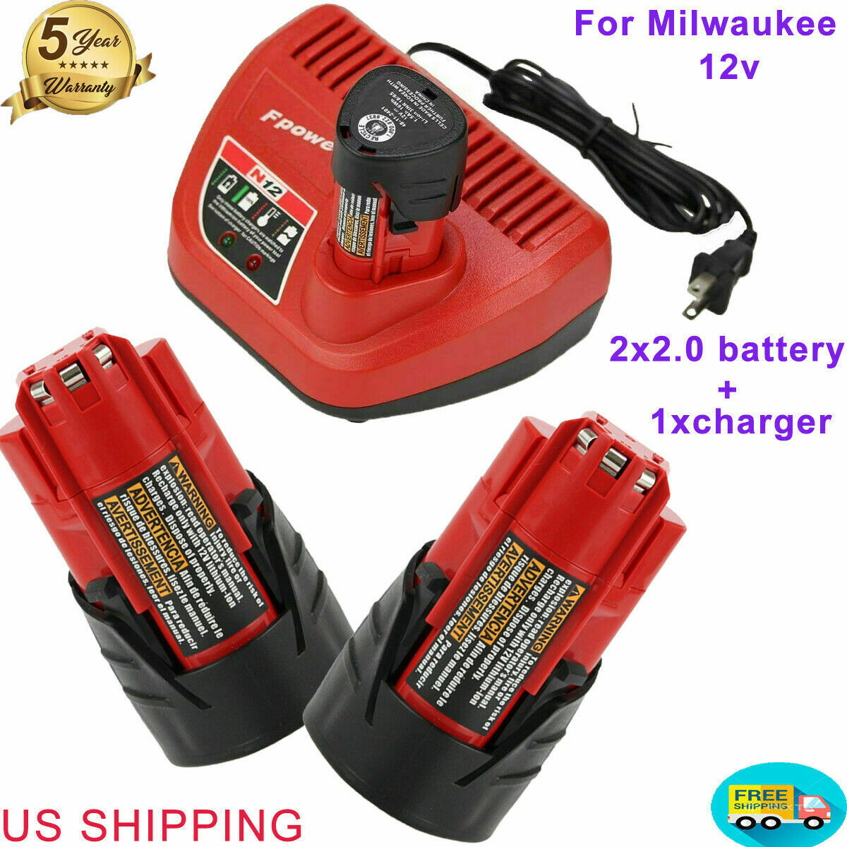 M12 Charger 12V 2.0Ah Extended Capacity Li-ion Battery 48-11-2460 for Milwaukee