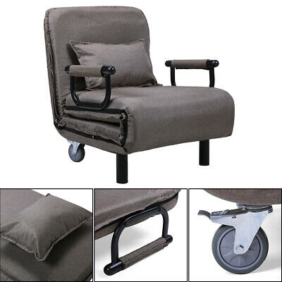 Folding Sleeper Flip Chair Convertible Sofa Bed Lounge Couch Pillow US  Brown