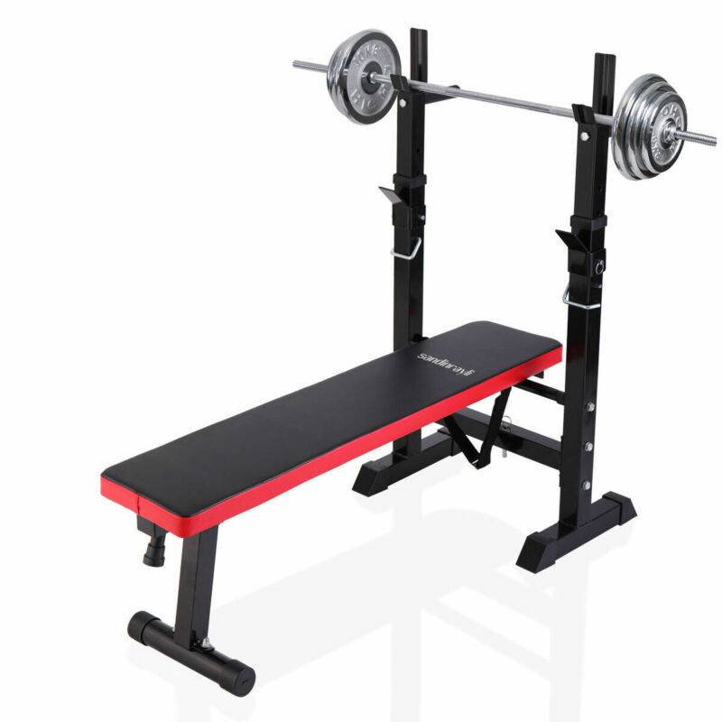 Folding Weight Bench Squat rack Adjustable Lifting Strength Gym Workout Home Gym