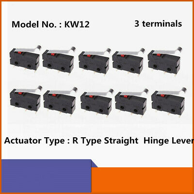 10pcs Kw12 Micro Switch Limit Switch 3 Pin 5a 125v 250v Hinge Lever No Nc Switch