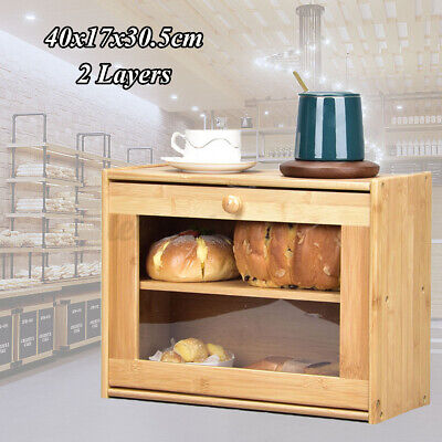 Large Double Layer Bread Box Natural Bamboo BreadBox w/Clear Window Kitchen Food
