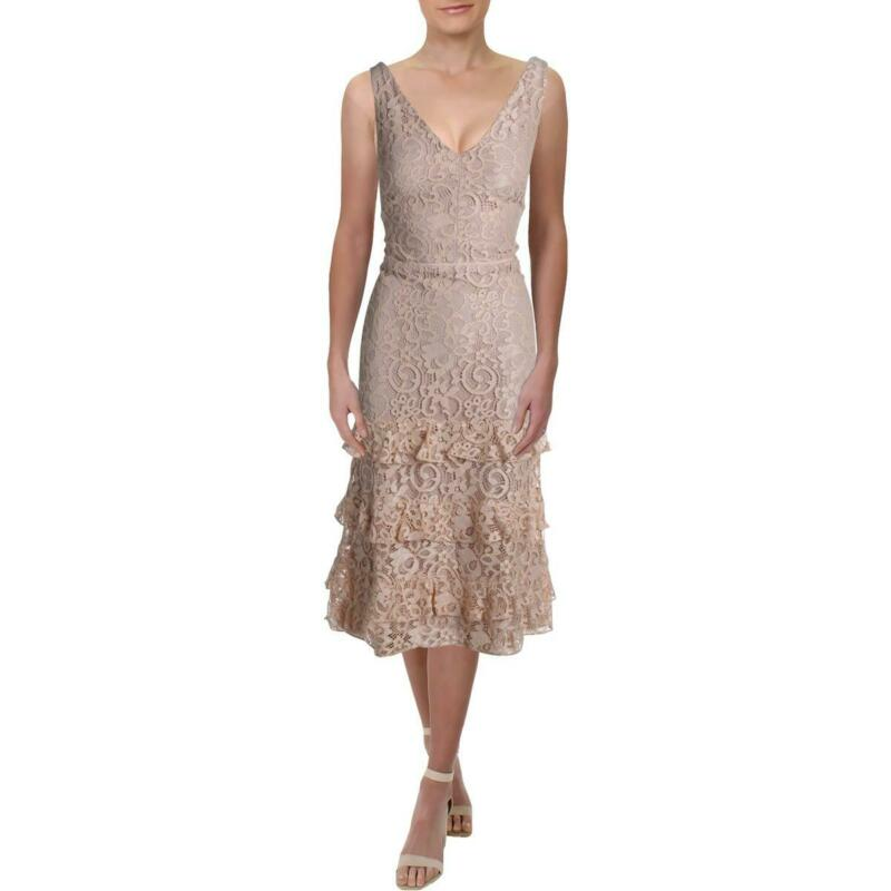 Lauren Ralph Lauren Womens Melrosa Pink Lace Midi Cocktail Dress 12 BHFO 7787