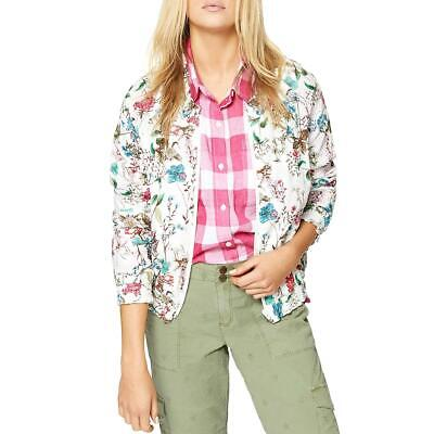 Sanctuary Women's Floral Print Cotton Smocked Lightweight Bomber Jacket Lightweight Printed Cotton