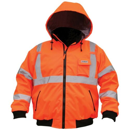 River City Class 3 Reflective Safety Bomber Jacket with Removable Liner, Orange