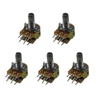 5pcs B100k 100k Ohm Potentiometer Knob Dual Linear Wh148 6pin 15mm Shaft