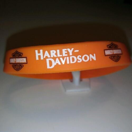 """1x Harley Davidson Orange Silicone Bracelet .5"""" Wide - U S Seller"""
