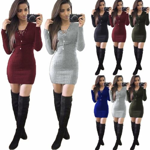 Damen Bodycon Slim Winter Pullover Minikleid Strick Cocktail Party Langarm Kleid