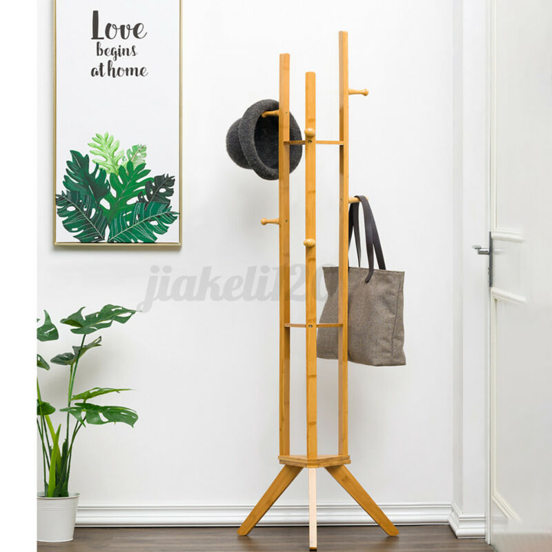 Coat Rack Solid Wood Bedroom 6 Hooks Hanger Clothes Rack Storage Flower Stand
