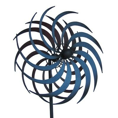 Rustic Metal Garden Art Double Pinwheel Yard Wind Spinner Lawn Ornament -