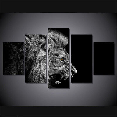 5 Panel Black Lion Canvas Painting Print Art Picture Home Wall Decor Unframed UK