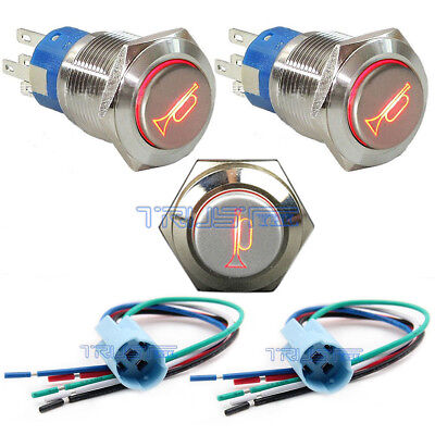 12v 16mm Led Lighted Momentary Metal Switch Push Button Air Horn Bell Car Boat