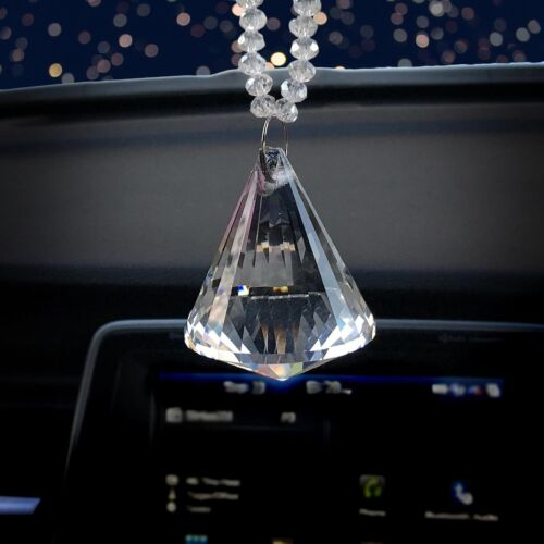 Diamond Bling Rear View Mirror Hanging Car Charm Chandelier Suncatcher Ornament