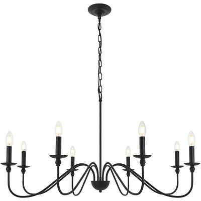 CHANDELIER FIXTURE WROUGHT IRON COUNTRY COTTAGE DINING ROOM KITCHEN 8 LIGHT 42""