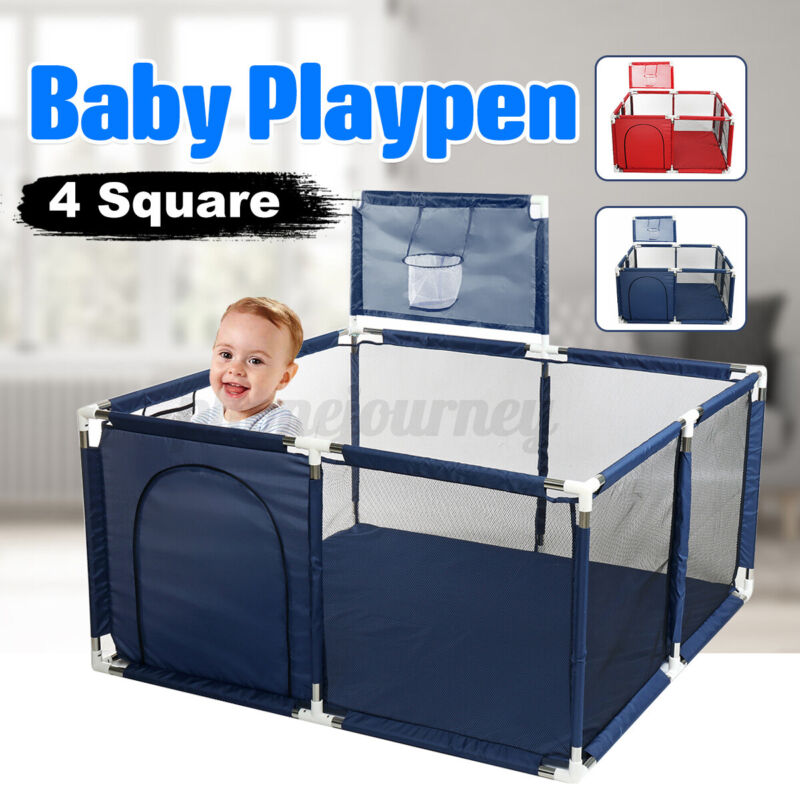 Baby Playpen Foldable Safety Playpen Basket Yard Activity Toys w/ 4 Panel Fence