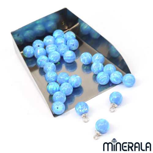 SKY BLUE LAB CREATED OPAL HALF DRILLED ROUND LOOSE BALL VARIOUS SIZES WP00211