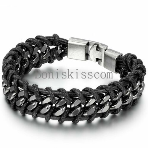 Jewellery - Black Braided Leather Silver Stainless Steel Cuban Chain Men's Bracelet Bangle