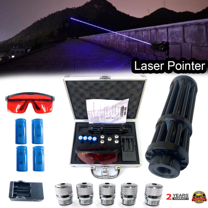 High Power Laser Pointer Blue 450nm Visible Beam Light W/ 4pcs Batteries+Box US
