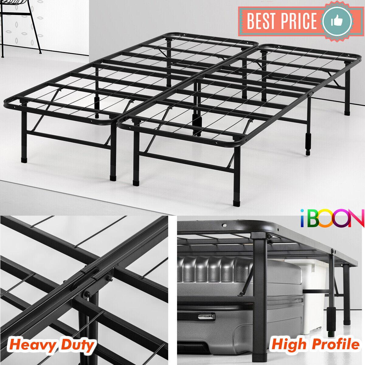 Steel Platform BED FRAME Queen Size Metal Foldable High Prof