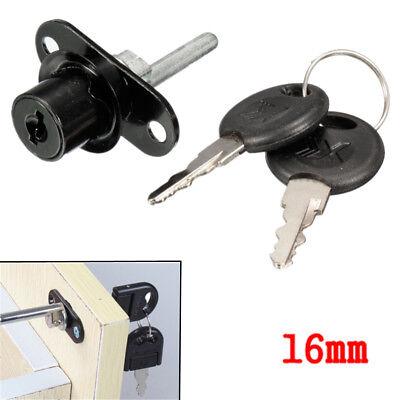 16mm Cam Lock Door Cabinet Mailbox Desk Drawer Cupboard Locker 2 Keys Black Us