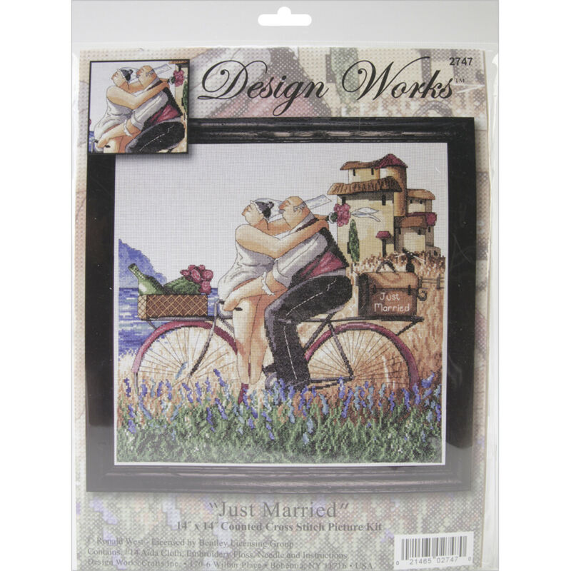 "Design Works Counted Cross Stitch Kit 14""X14""-Just Married (14 Count)"