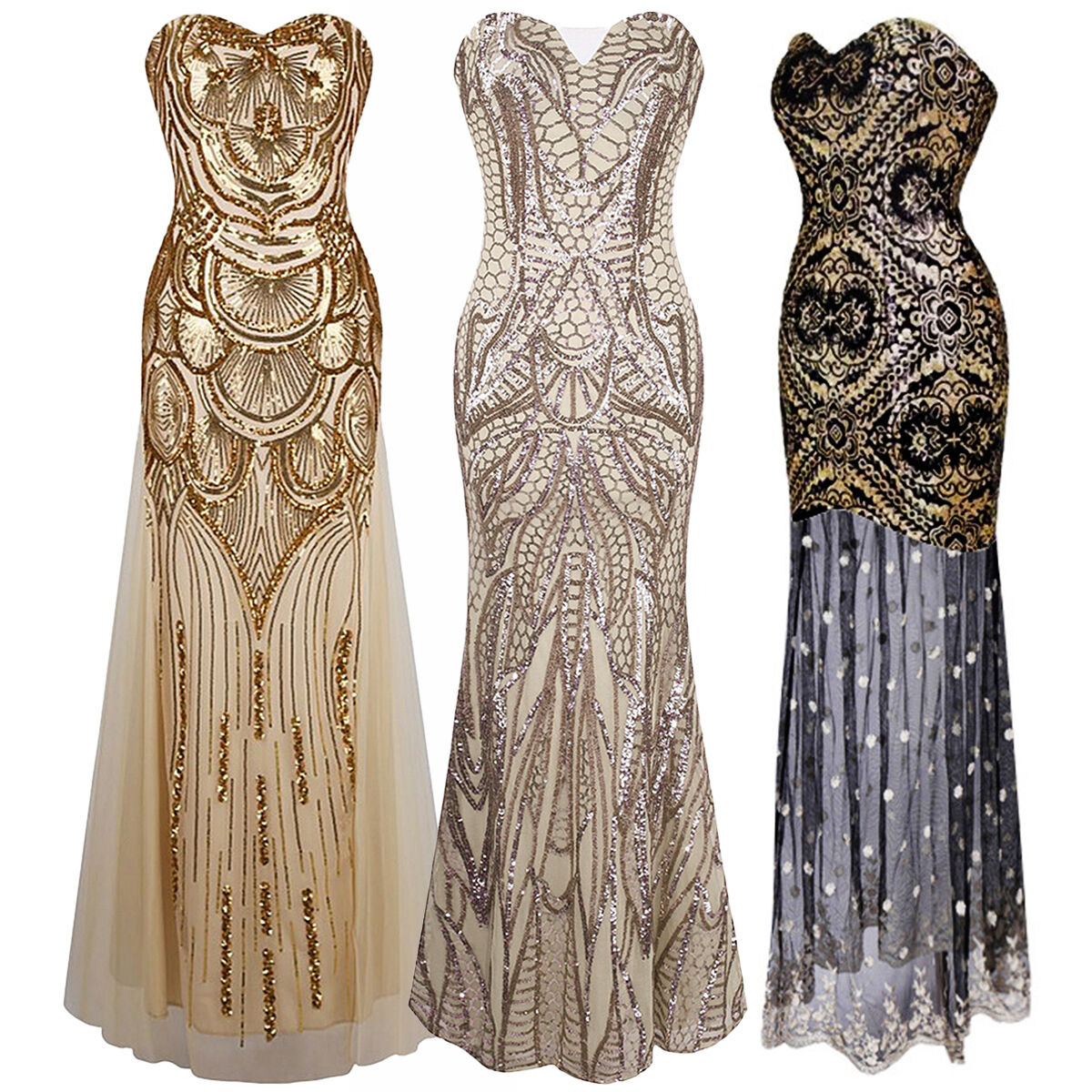 Gatsby Dresses: 1920s Strapless Dress Deco Great Gatsby Vintage Sequin