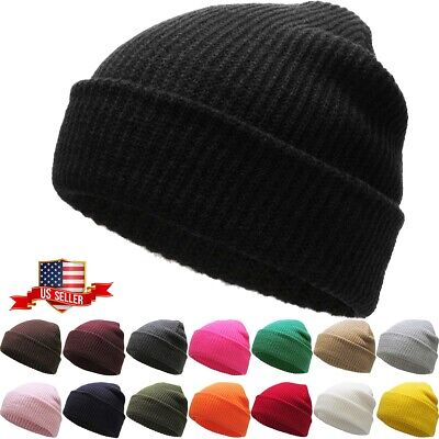 Ski Beanie Cap - Soft Ribbed Beanie Knit Ski Cap Skull Hat Warm Solid Color Winter Cuff Blank
