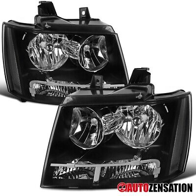 For 2007-2014 Chevy Tahoe Suburban Black Headlights Parking Lamps Pair