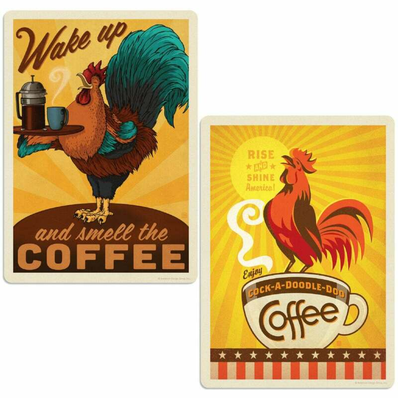 Coffee Rooster Vinyl Sticker Set of 2 Laptop Car Decals