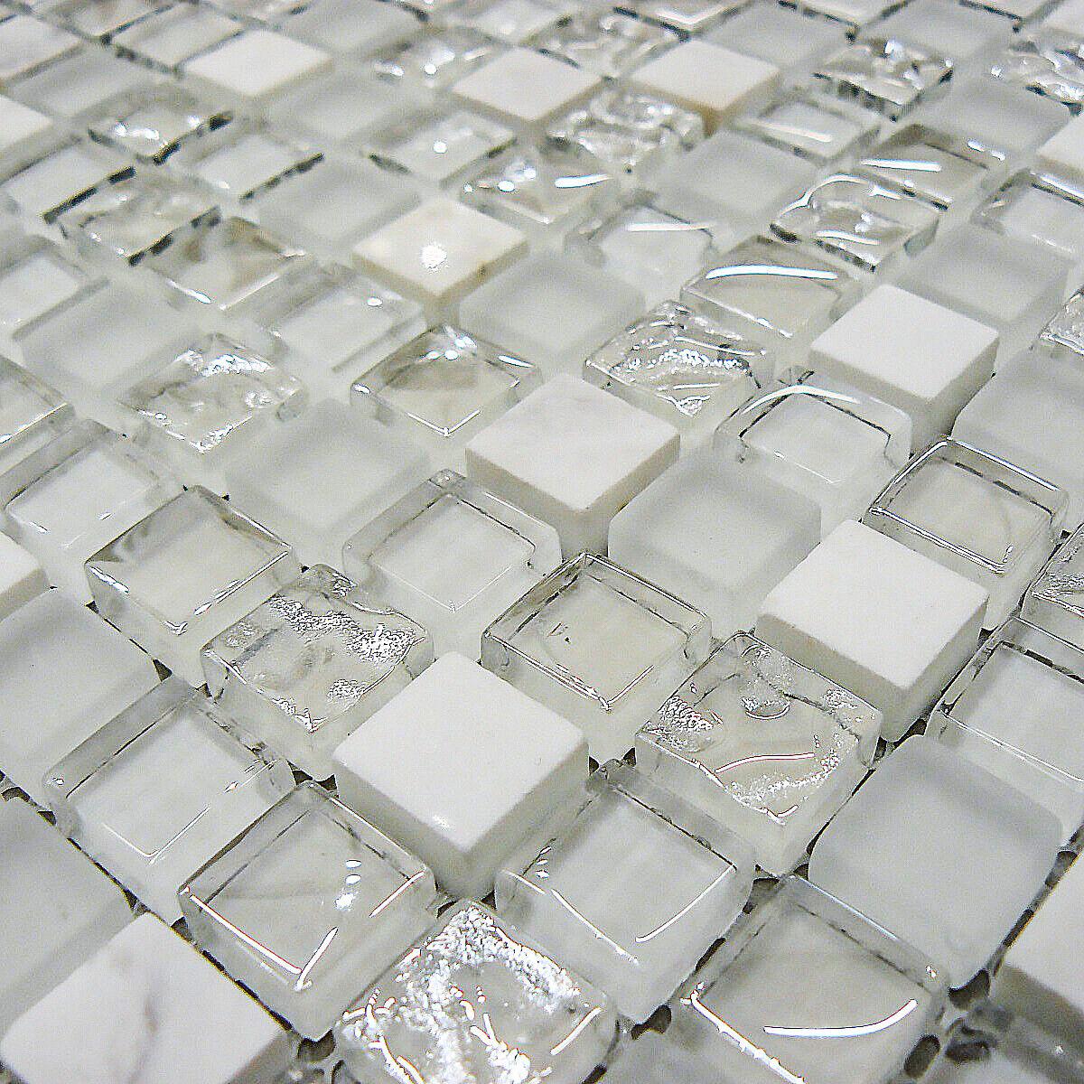 White Gl Stone Mosaic Tiles Sheet