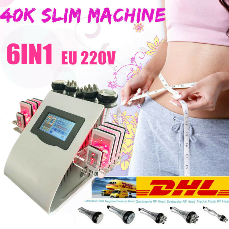 EU 6in1 Ultrasonic Vacuum Cavitation RF Radio Frequency Cellulite Slim Machine