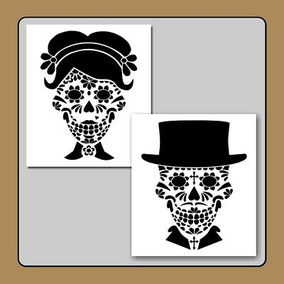 8 X 9 His and/or Hers Sugar Skull Face STENCIL Day of Dead/Man/Woman/Halloween - Man Sugar Skull Halloween