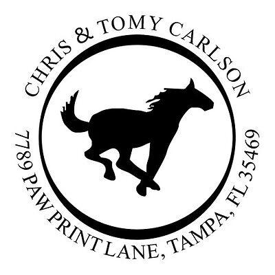 Custom Address Round Self Inking Rubber Stamp With Running Horse Design