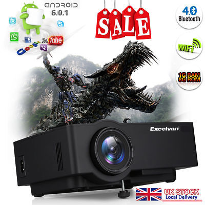 4K WIFI Android 6.0 Home Theater Projector FHD 1080P HDMI/USB/TF/AV Bluetooth UK