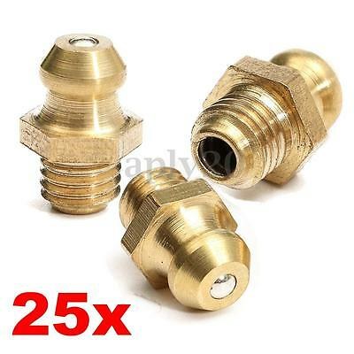 25pcs 14 Drive Type 14-28 Taper Thread Straight Grease Zerk Nipple Fitting Us