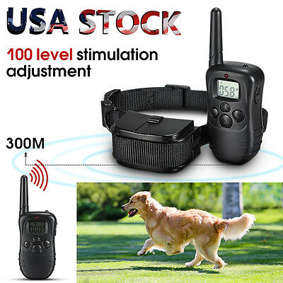 LCD 100LV 300M Remote Electric Shock Vibrate Pet Dog Training Collar Waterproof