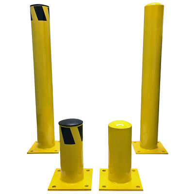 Steel Pipe Safety Round Bollard Posts - Bolt Down - Yellow - Electriduct (Steel Bollard)