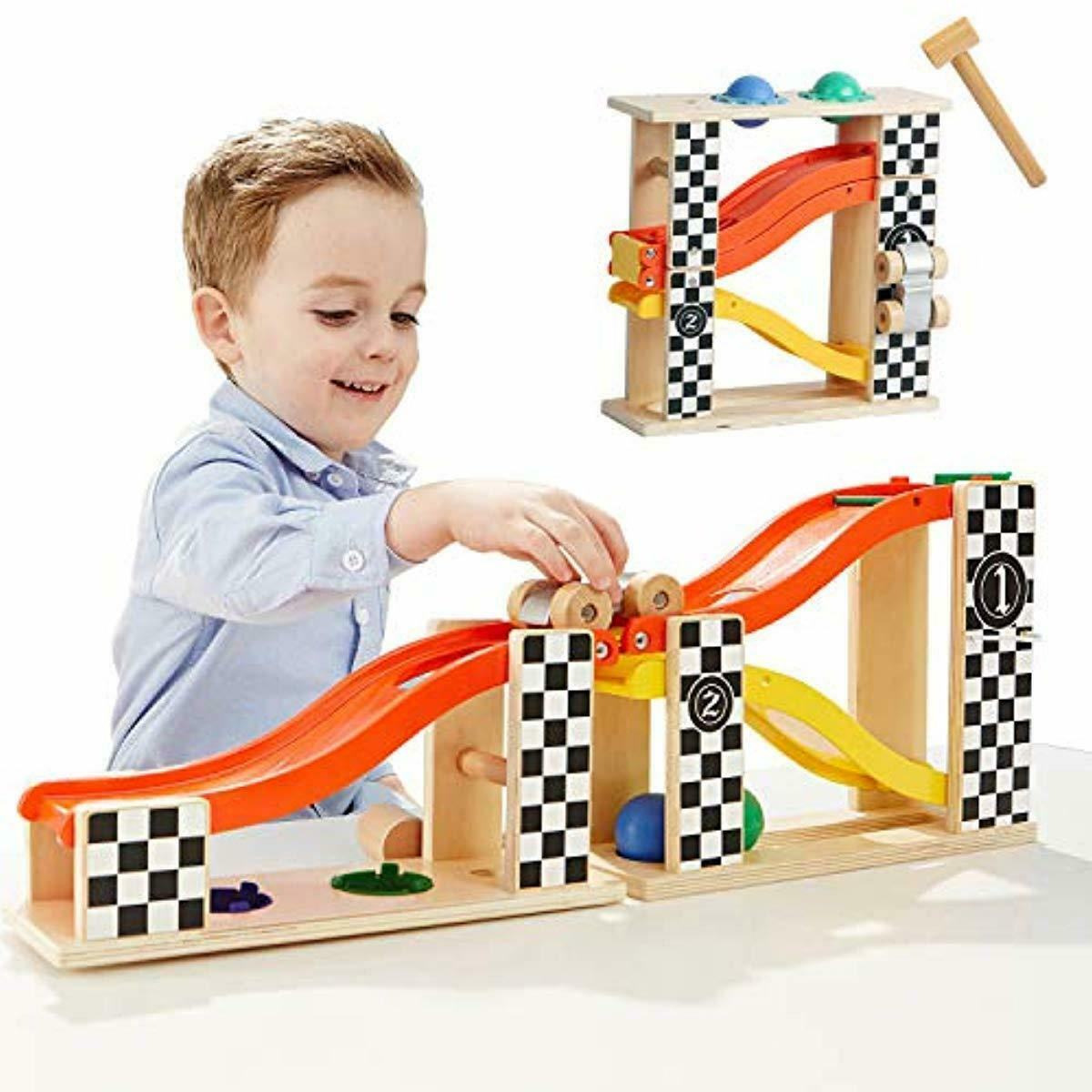 Toddler Wooden Race Track Toy Car Ramp Racer Hammer Ball Pou