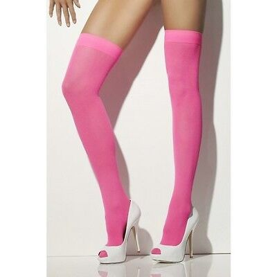 Womens Pink Thigh High Stockings Hi Hold Ups Opaque 80s Neon Pink Adult Size - Neon Pink Stockings