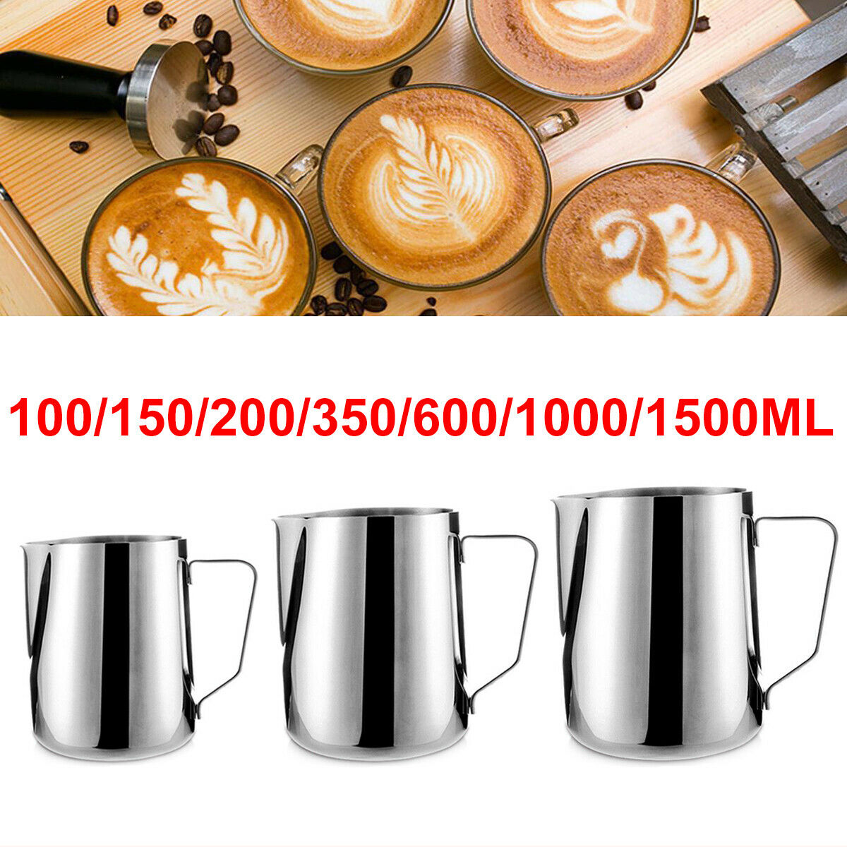Stainless Steel Milk Frothing Jug Frother Coffee Latte Container Pitcher Mug Cup