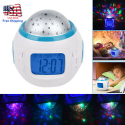 Sky Star Children Baby Room Night Light Projector Lamp Bedroom Music Clock Decor