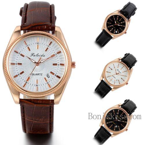 $8.99 - Luxury Men's Women's Calendar Date Leather Stainless Steel Quartz Wrist Watch