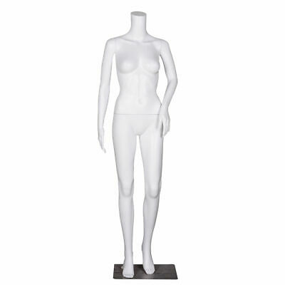 Headless Female Mannequin Plastic Realistic Display Dress Form Full Wbase White