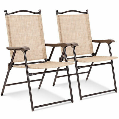 Set of 2 Patio Folding Sling Back Chairs Camping Deck Garden  Beach (Fabric Steel Folding Chair)