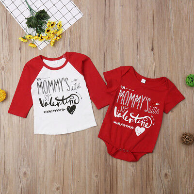 Valentine Brothers Kids T-shirt Tops Baby Boy Romper Bodysuit Clothes Outfit US](Valentine Kids)