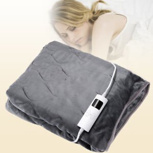 Electric Heated Over Throw Blanket Washable Soft Fleece w/ Monitor Warm Mattress