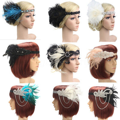Retro 1920s Headband Feather 20's Bridal Great Gatsby Flapper Gangster - 1920s Gangsters